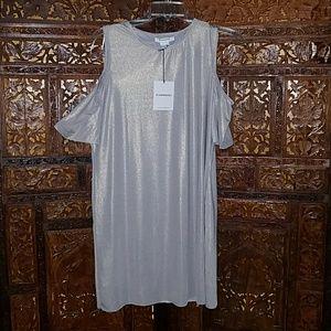Glamorous/Nasty Gal Silver peep shoulder dress